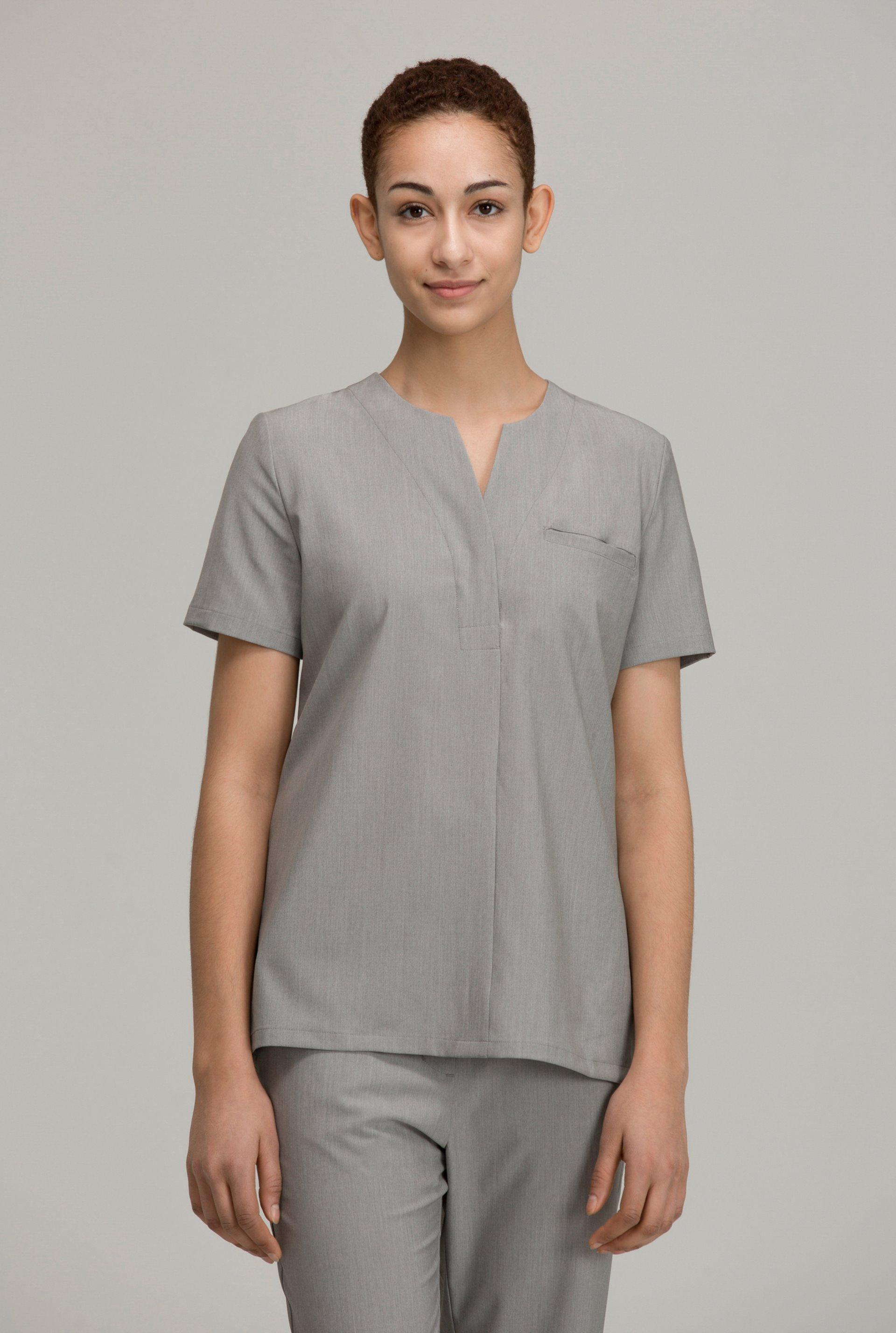 노치넥 프론트 포켓 스크럽 여성 탑 (Dry up)