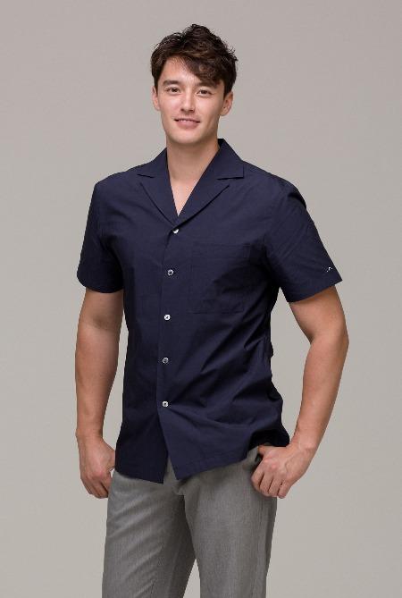 포플린 쿠반 카라 셔츠 Dark Blue