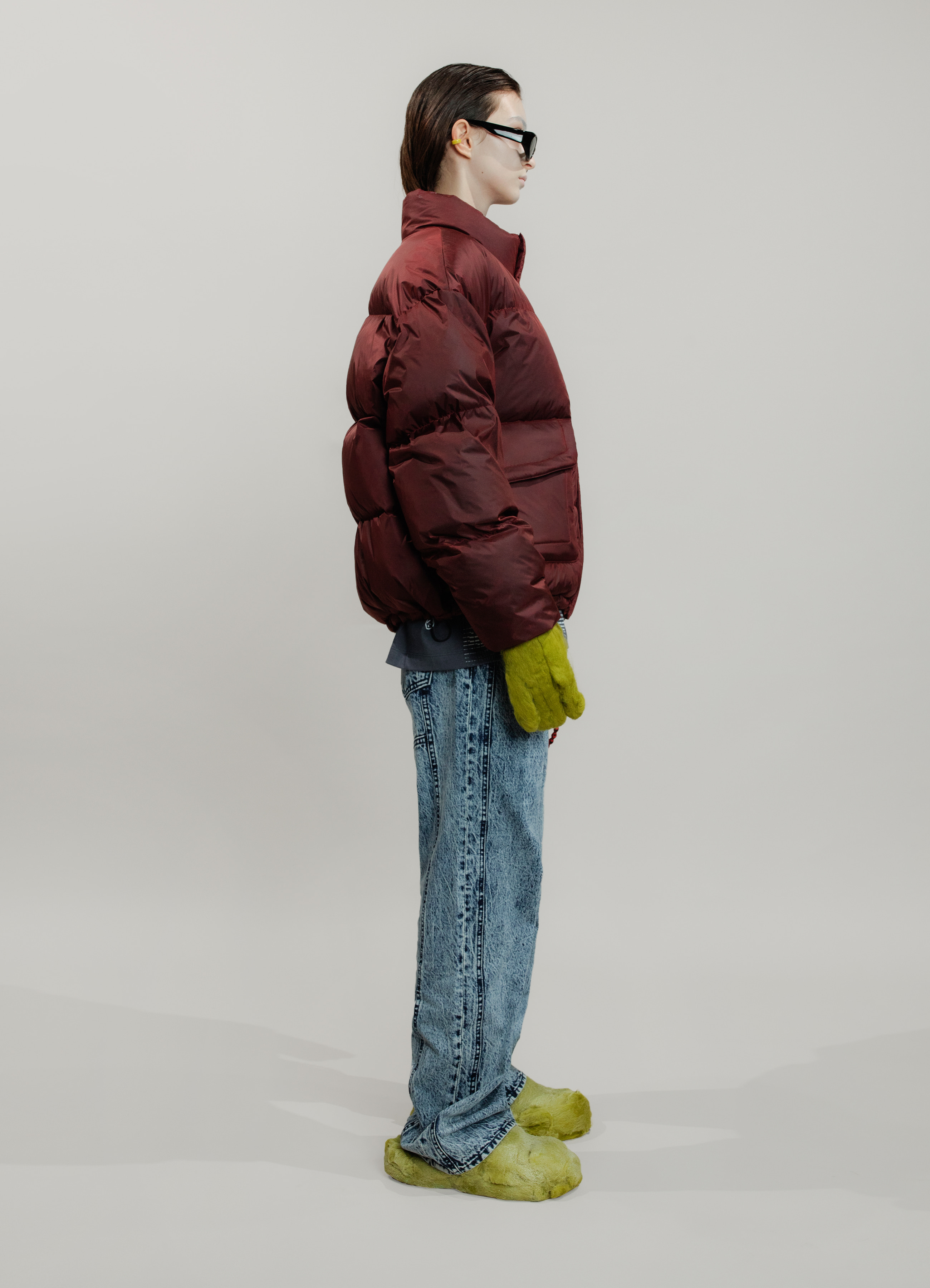RED DYDED DOWN PUFFER JACKET