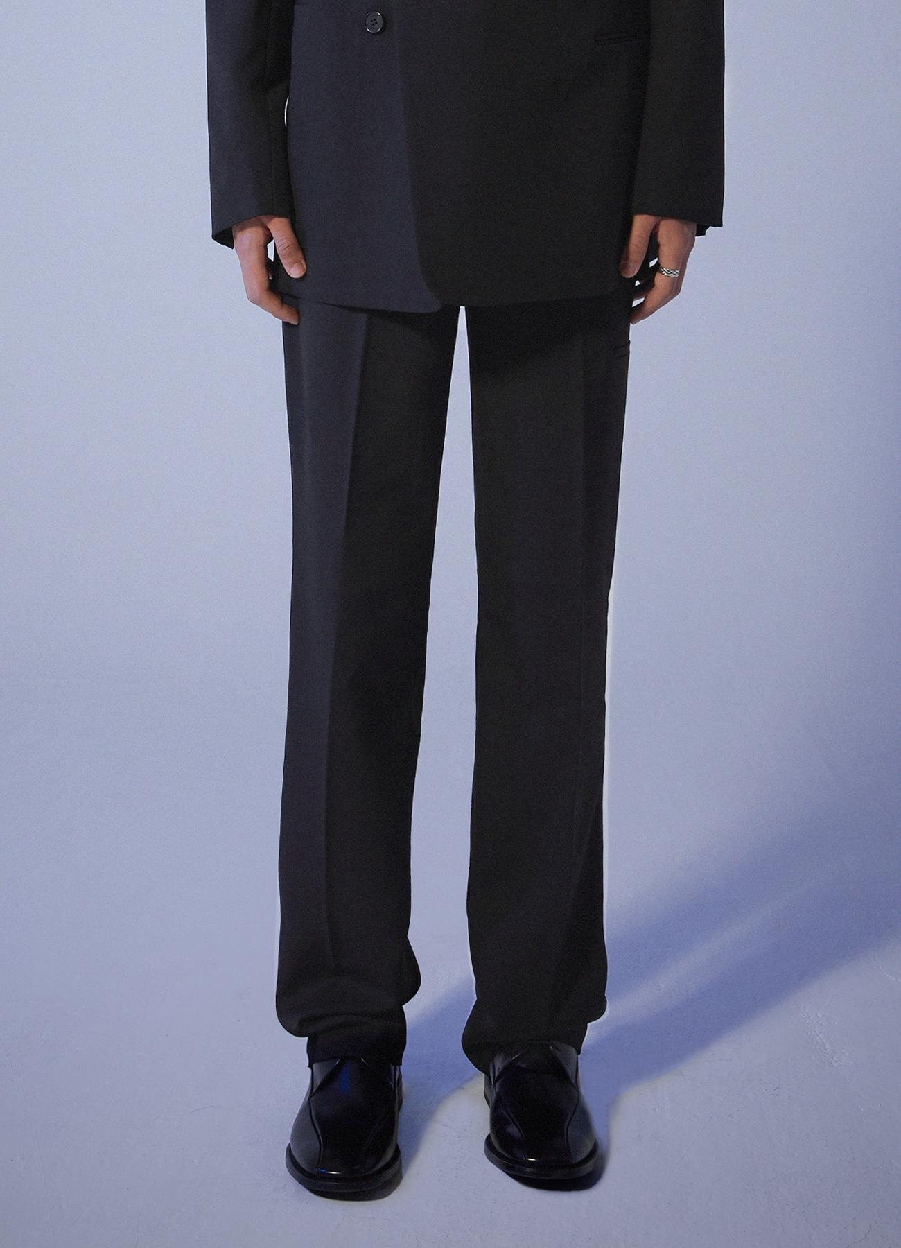 Premium Long Wide Slacks - Black