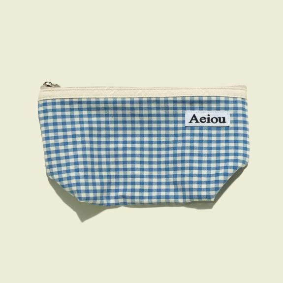 Aeiou Basic Pouch (L size) Baby blue check