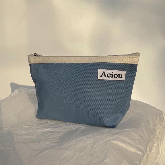 Aeiou Basic Pouch (L size) Evening sky blue