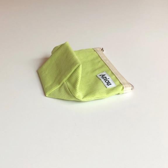 Aeiou Basic Pouch (M size)Tokyo Green Corduroy