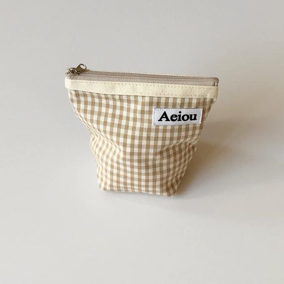 Aeiou Basic Pouch (M size)Beige Ginghamcheck