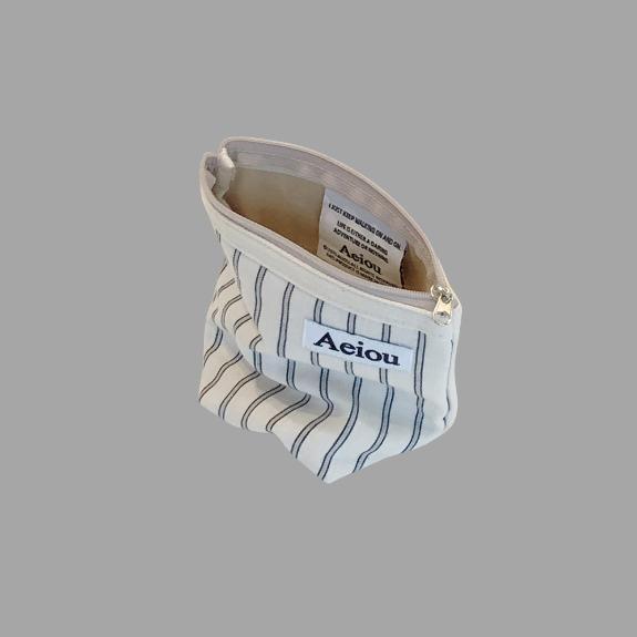 Aeiou Basic Pouch (M size) Cotton Gray Line