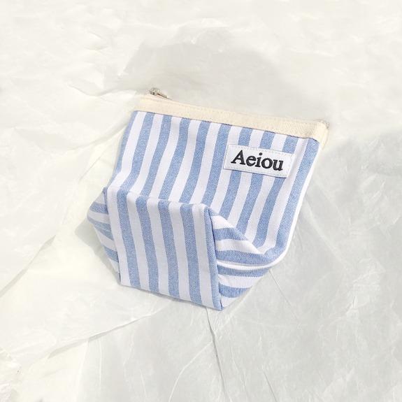 Aeiou Basic Pouch (M size) Parasol Blue Stripe