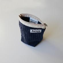 Aeiou Basic Pouch (M size)Ash blue Corduroy