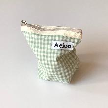 Aeiou Basic Pouch (M size)Blue Green Ginghamcheck