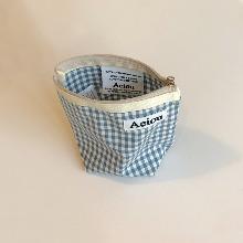 Aeiou Basic Pouch (M size)Baby Blue Check