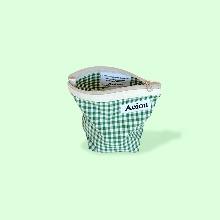 Aeiou Basic Pouch (M size)Spring Green Check