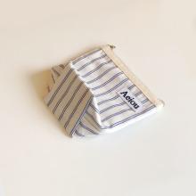 Aeiou Basic Pouch (M size) Cotton Blue Line