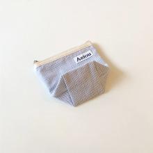 Aeiou Basic Pouch (M size)Blue Rain Stripe