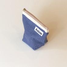 Aeiou Basic Pouch (M size) Navy Check