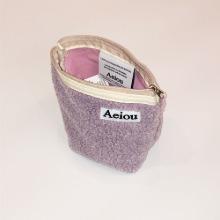 Aeiou Basic Pouch (M size) Taro Bubble fur