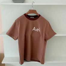 Aei ou T-shirtBrown (Neck rib ton on ton brown)