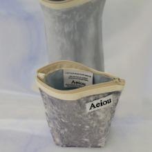 Aeiou Basic Pouch (M size)Velvet Silver