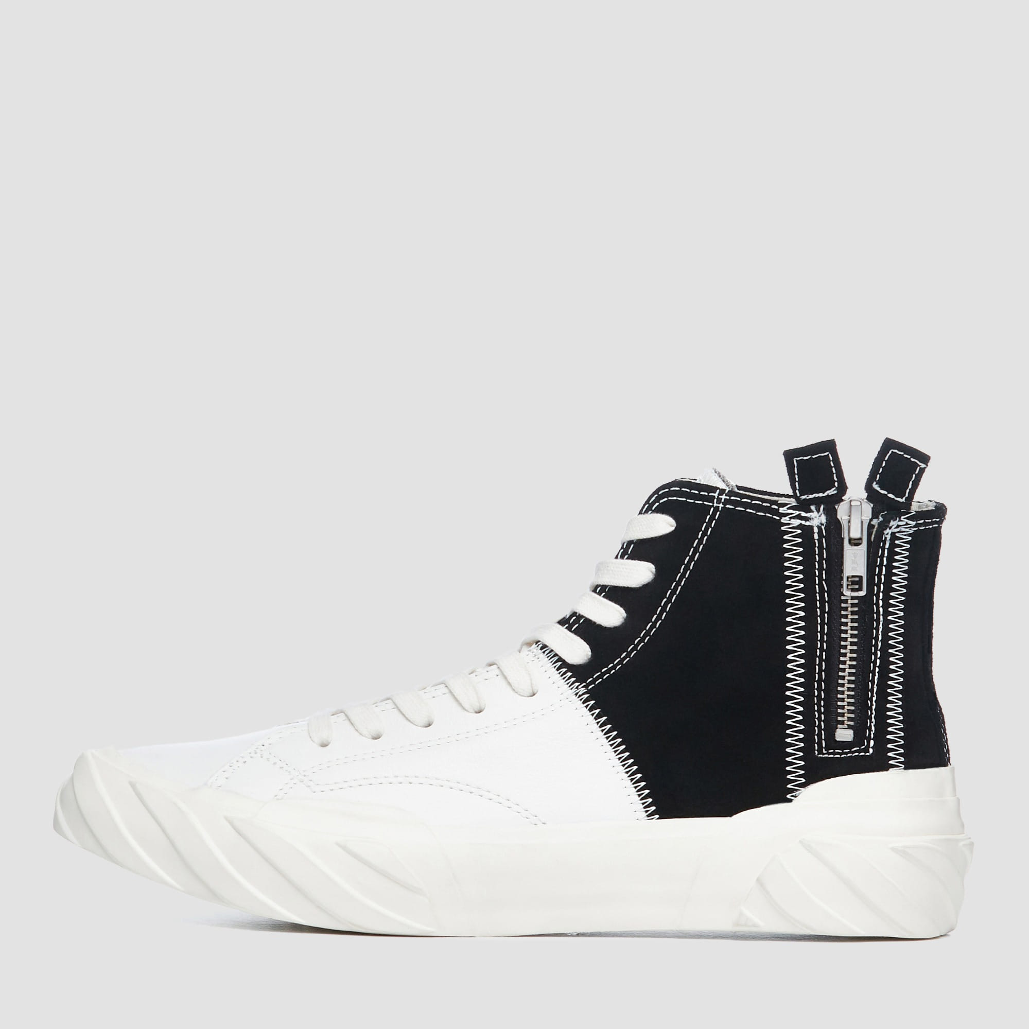AGE LEATHER/SUEDE TOP WHITE/BLACK