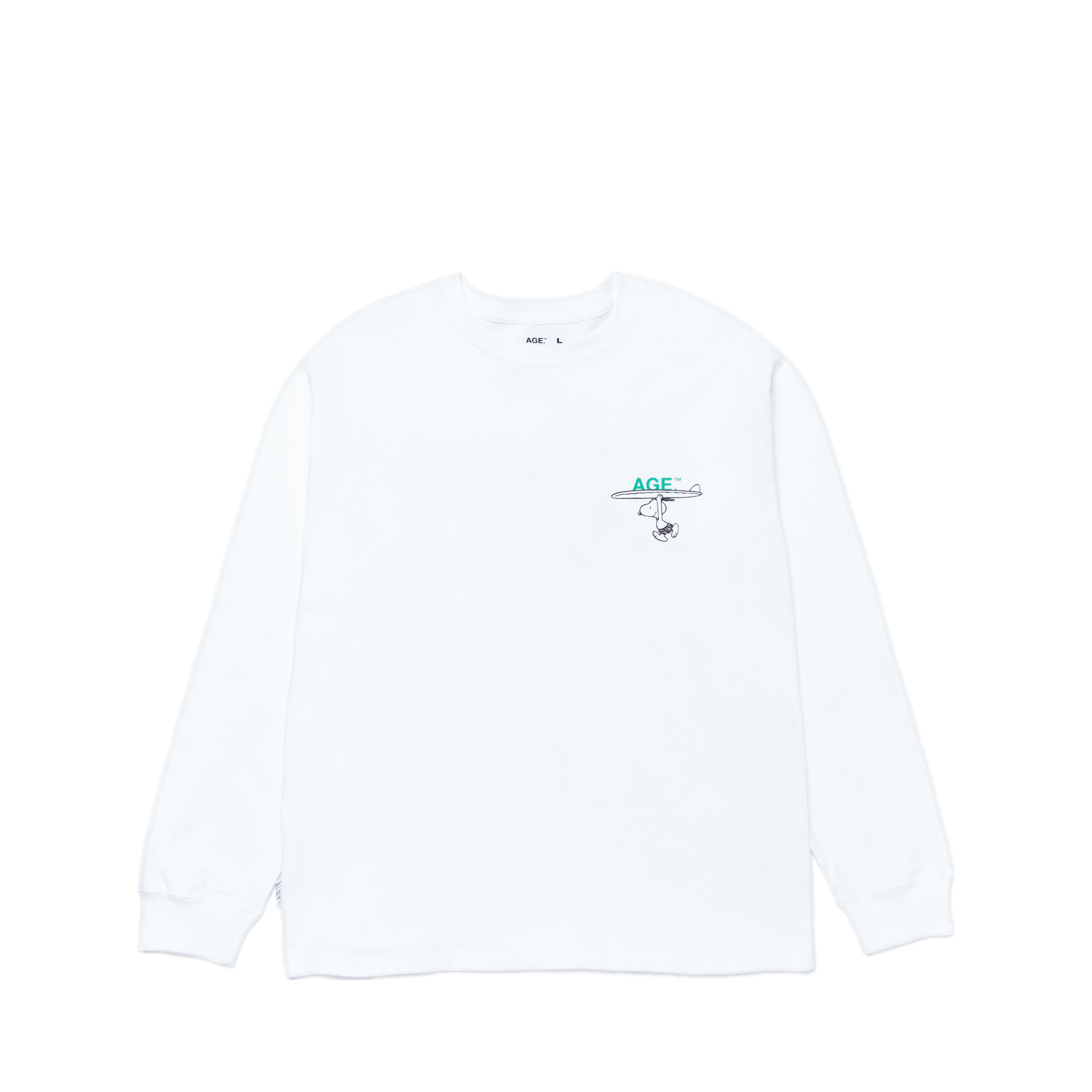 AGE X Snoopy Carrying Long SLV Tee WH/GN