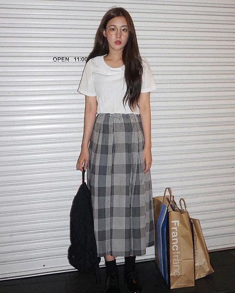 big check vintage skirt