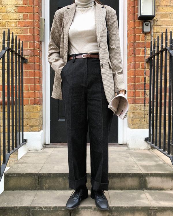 minimalism roll up denim pants (s, m)