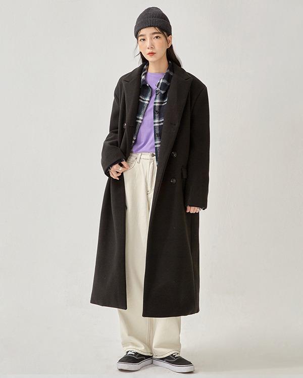 mode double long coat