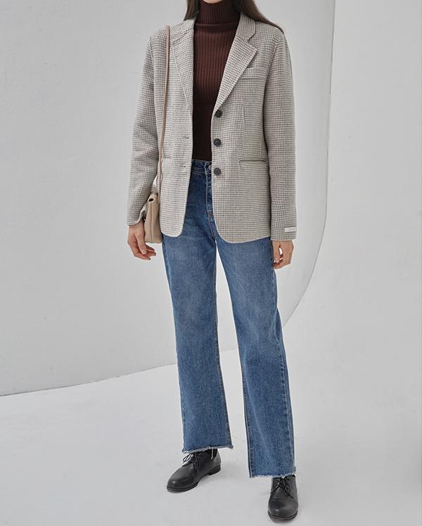 ring handmade check jacket (wool70%)