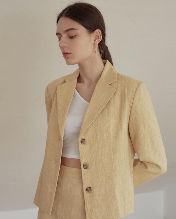 apron herringbone linen short jacket