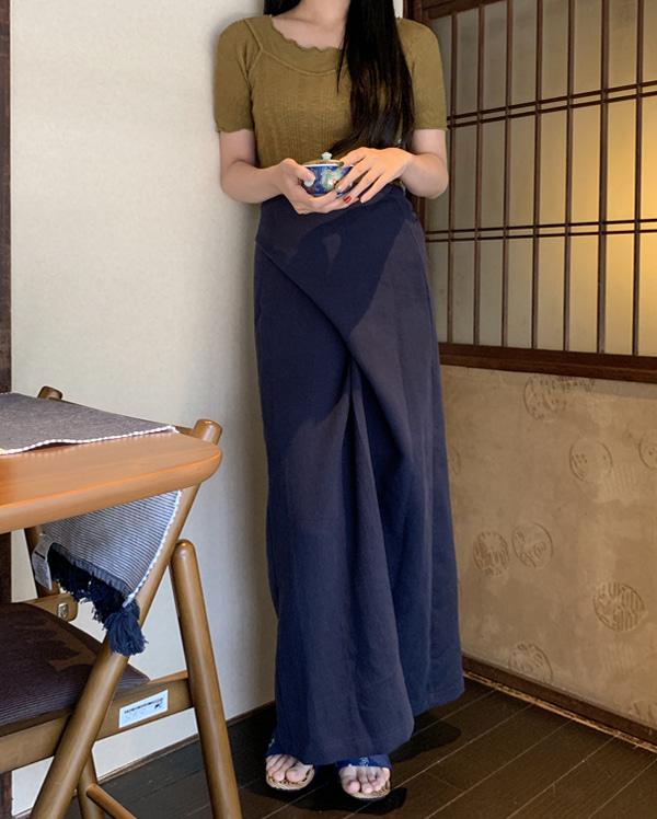 muffin long wrap skirt
