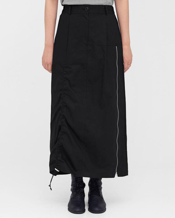 mood zipper shirring skirts