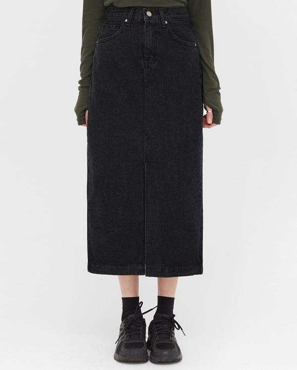 deep denim slit long skirts (s, m, l)