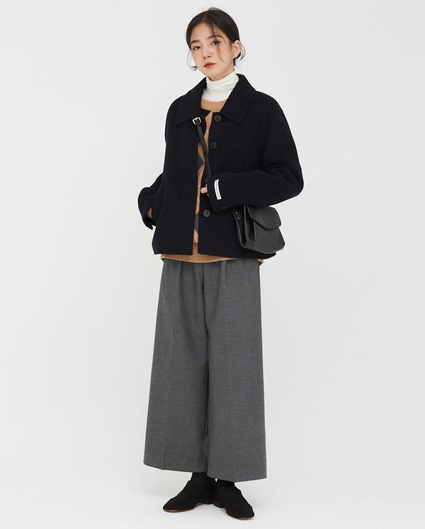 clean wool short handmade coat
