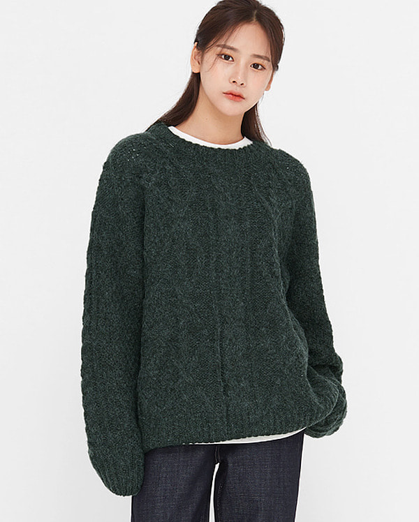 once wool cabled round knit