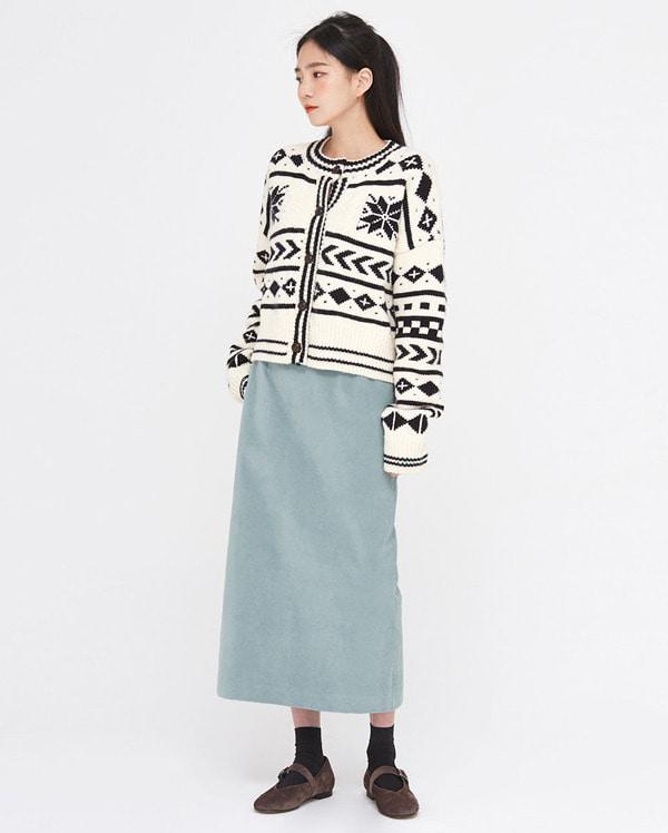 snow nordic pattern knit cardigan