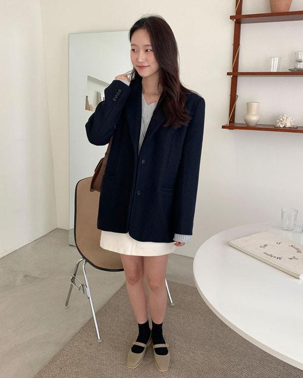 sense napping single wool jacket