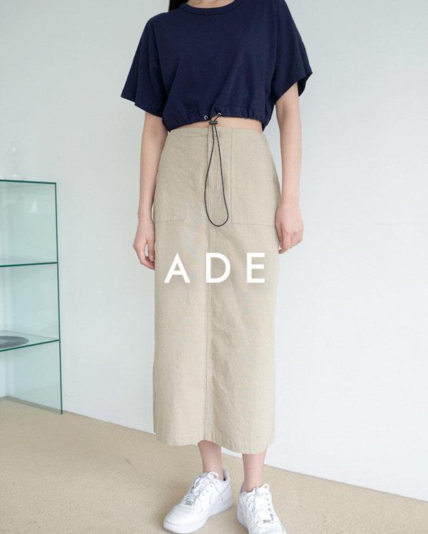 linen pocket H-line skirt