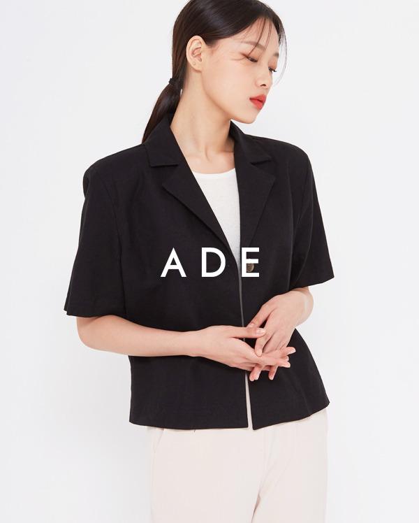 one button linen short jacket