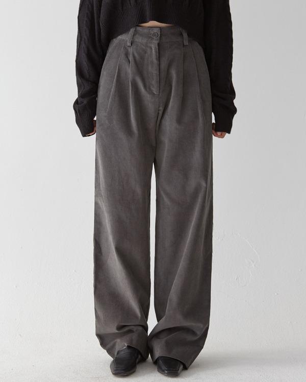 corduroy pintuck detail wide pants (s, m)