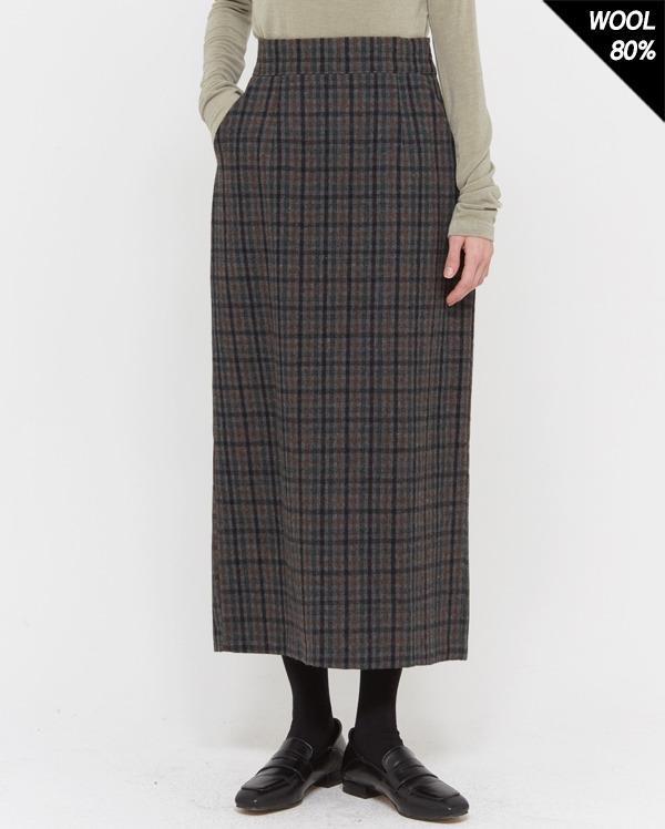 oneday check slit wool skirt