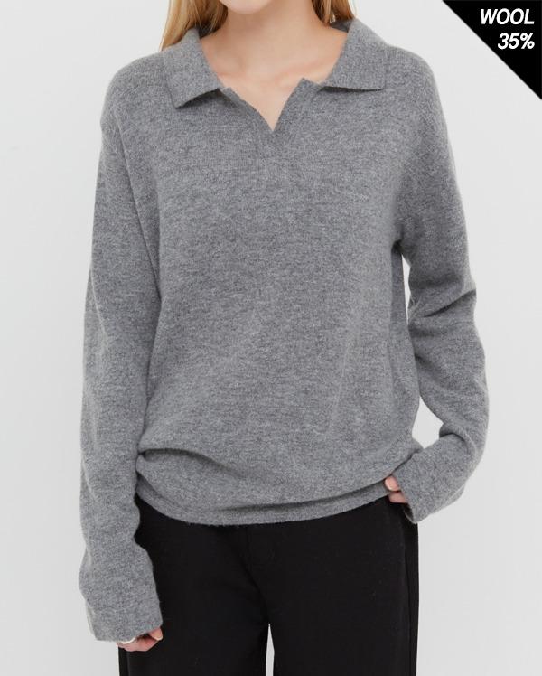 fine real wool collar knit