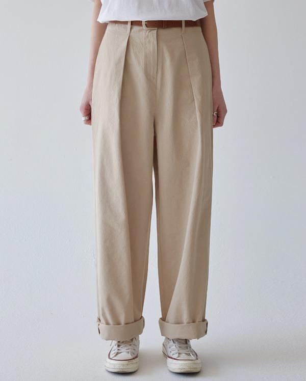 salt cotton pintuck pants (s, m)