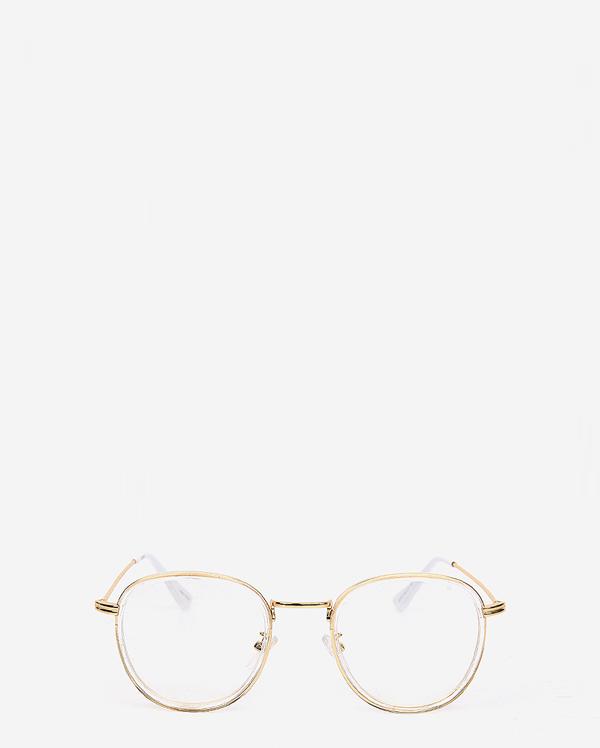 clear frame gold rimmed glasses