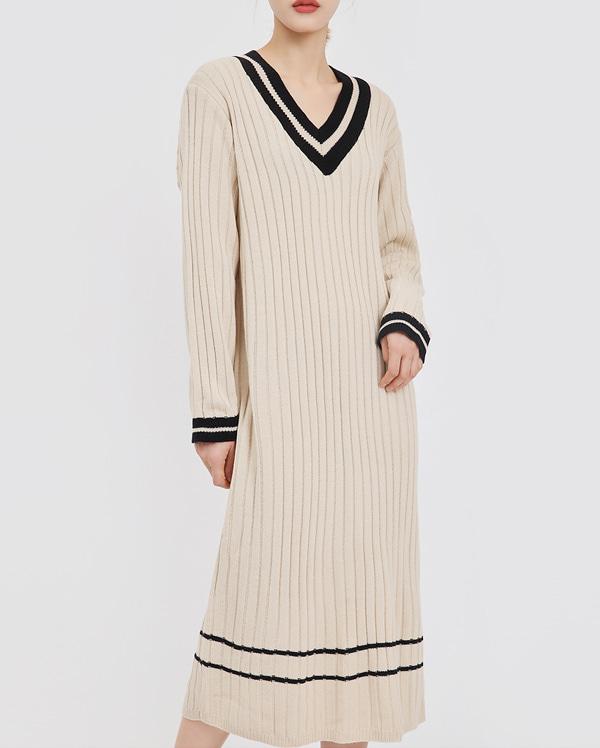 easily twist v-neck knit ops