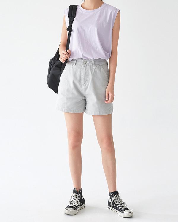 gray cotton short pants (s, m)