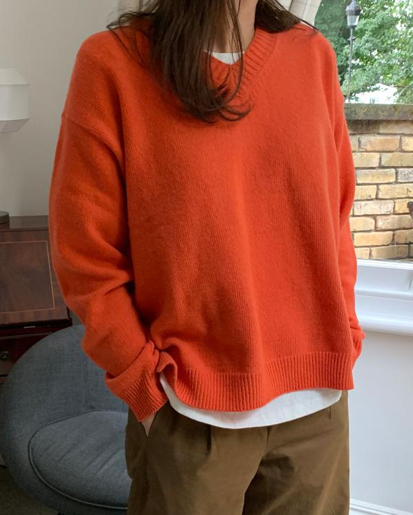 roll baby v-neck knit