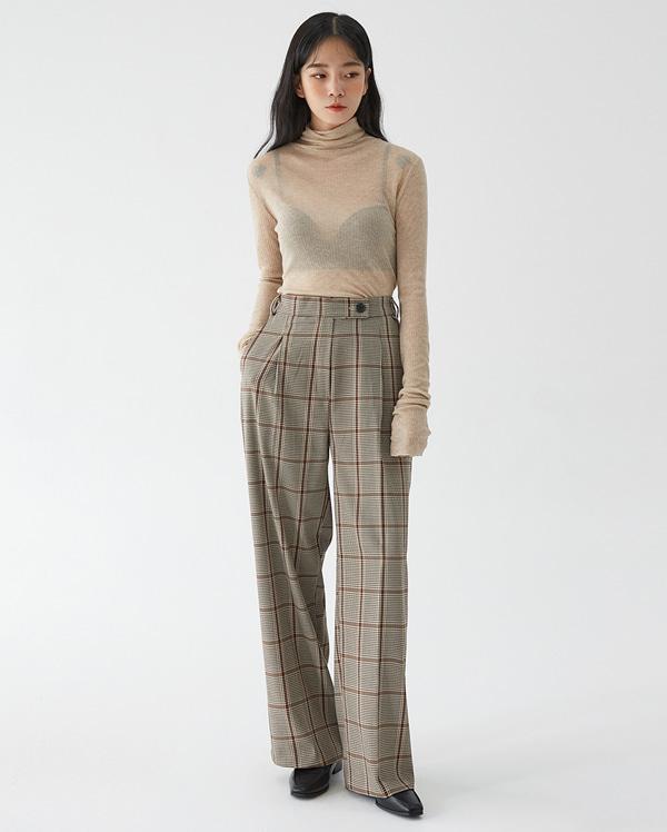 fall check wide pants