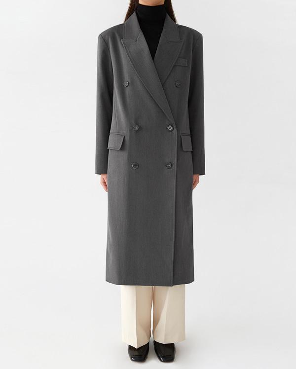 a classical long double coat