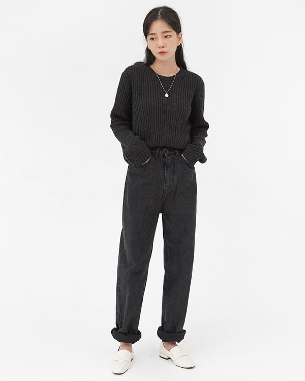 slim long denim pants (s, m, l)
