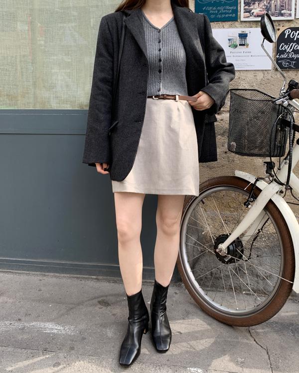 meringue thin belt skirt (s, m)