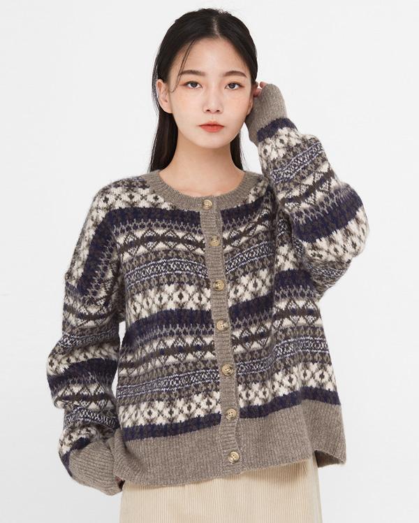 in vintage pattern wool cardigan