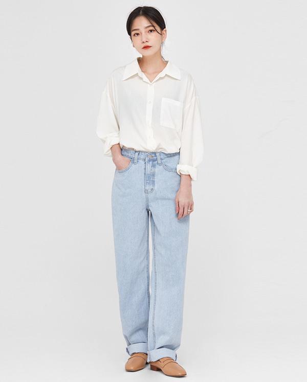 roll wide denim pants (s, m, l)